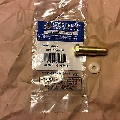 Western Nipple Co-3 Cga 320 Carbon Dioxide14 Npt 2 Long Brass