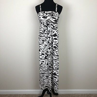 Soma XS brown cream leopard animal print maxi dress lounge pajama night gown