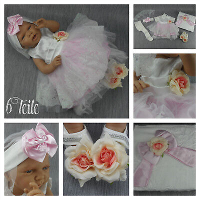 BABY Kleid Taufe Taufkleid Festkleid Weiß Rosa 6-teilig Body Schuhe Stirnband 62 (Weißes Kleid, Rosa Schuhe)