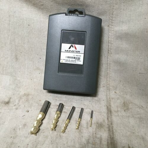 MONSTER 283-888882 End Mill Set Carbide ZrN 1/8 in to 1/2 in