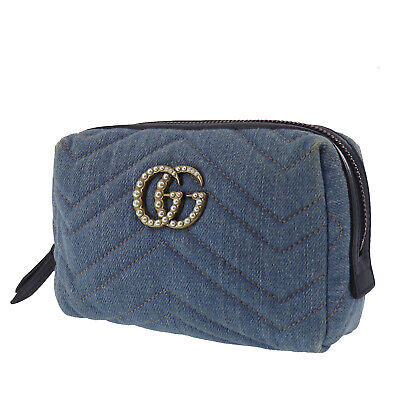 GUCCI GG Marmont Cosmetic Pouch Bag Denim Light Blue Italy Authentic #II574 O