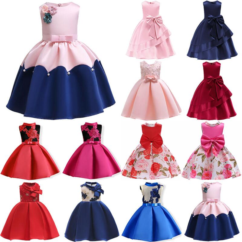 Mädchen Formale Partei Prinzessin Brautjungfer Hochzeit Festzug Kleider Für Kind