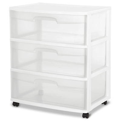 (3 Drawer Wide Cart Sterilite Storage Plastic Organizer White Rolling Box Cabinet)