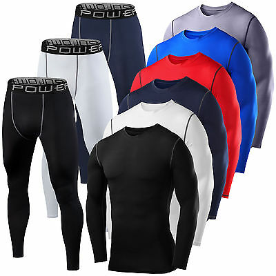 Mens Boys Compression Armour Baselayer Top Thermal Skins Shirt + Leggings Set