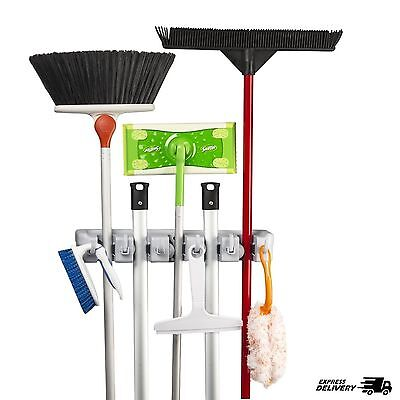 Wall Mount Mop And Broom Holder Organizer Cleaning Tool Rack Closet Hook Hanger
