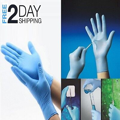 100 Disposable Nitrile Rubber Gloves Slip Resistant Latex Powder Free L Size