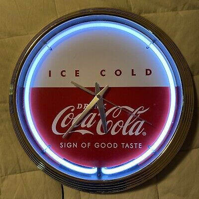 "Vtg Art Deco Round Neon Coca Cola Clock/"" Sign Of Good Times"""
