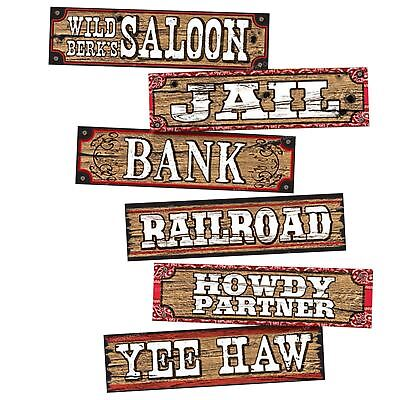 WAY OUT WEST - 4 pc WESTERN SIGNS Party Saloon Wall Decoration     1-2B - Party Signs