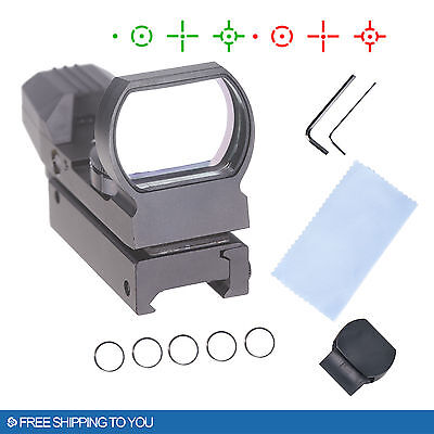 Reflex Red Green Holographic Scope Sight Tactical Rifle Mount 20Mm Rails Blk