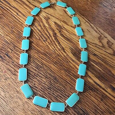 60s -70s Jewelry – Necklaces, Earrings, Rings, Bracelets 1960's Teal Green Cream Enamel Gold Tone Necklace 24
