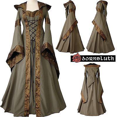 Mittelalter Gothik Karneval Gewand Kleid Kostüm Maria Olivgrün-Schwarz - Schwarz Olive Kostüm