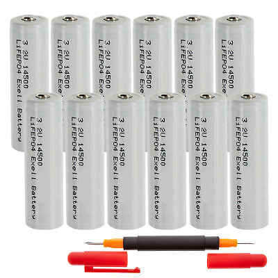 (12-PACK) 3.2V 500mAh LiFePO4 14500 (14 x 50mm) AA Rechargeable Solar Batteries