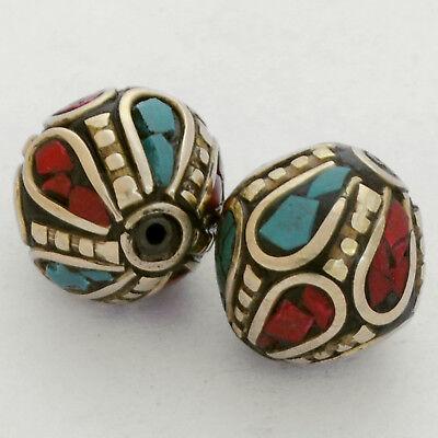 Turquoise Coral Brass 2 Beads Nepalese Tibetan Handmade Tibet Nepal UB2466
