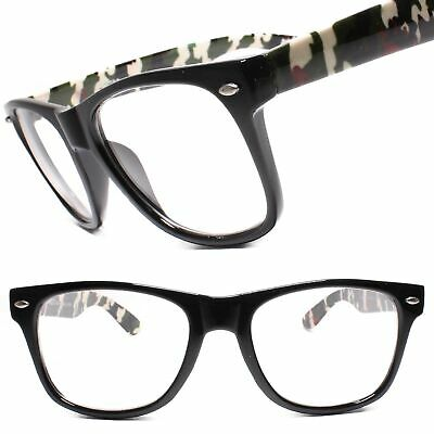 Camo Camouflage Temple Horn Rimmed 80s Rectangle Clear Lens Eye Glasses (Camouflage Glasses Frames)