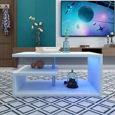 High Gloss RGB LED Coffee Table Display Drawer Storage Living Room Furniture