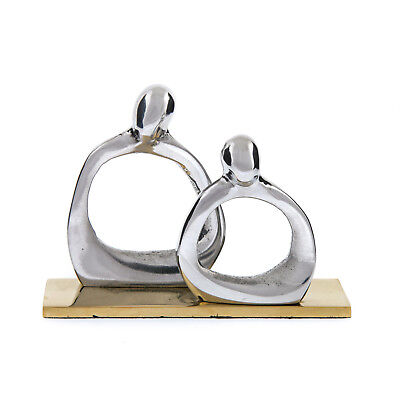 Modern Business Card Holder Handmade Aluminum Brass 2 Human Figures Silver
