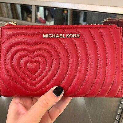 Michael Kors Jet Set Travel Double Zip Wristlet Phone Leather Wallet Scarlet