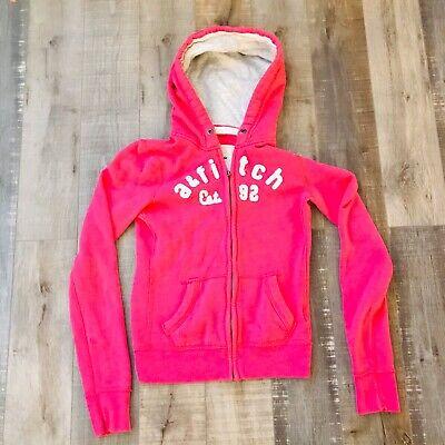 Abercrombie & Fitch Full Zip Sweatshirt Hoodie Womens Sz L Pink