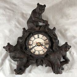 """Vintage Brown Ceramic Black Forest Style Bears Tree 7.5"""" Wall Clock Working"""