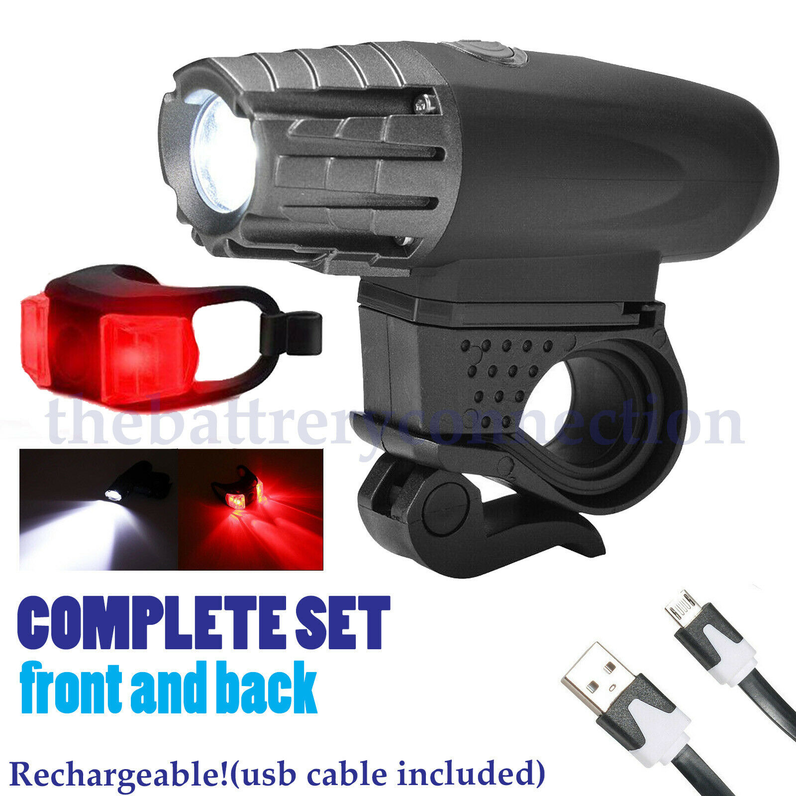 5000 Lumen 8.4V Rechargeable Cycling Light Bicycle Bike LED Front Rear Lamp Set Bicycle Accessories