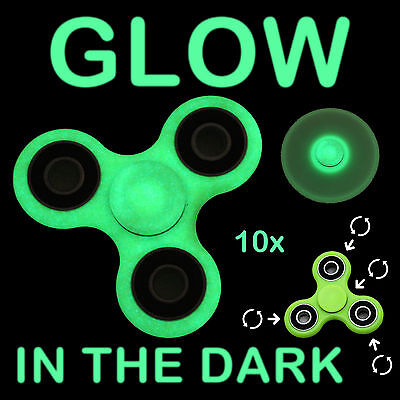 Glow In The Dark Games For Adults (10x Glow In The Dark Tri Hand Spinner Fidget Focus Toy EDC For Kid Adult)