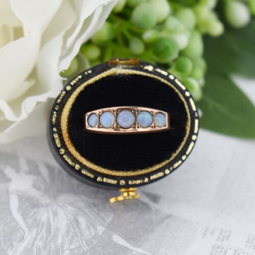 Antique Natural Opal Five Stone 9ct 9K Gold Band Ring Chester 1920