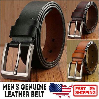 Men's Genuine Cowhide Leather Classic Metal Buckle Jean (Men Cowhide Leather)