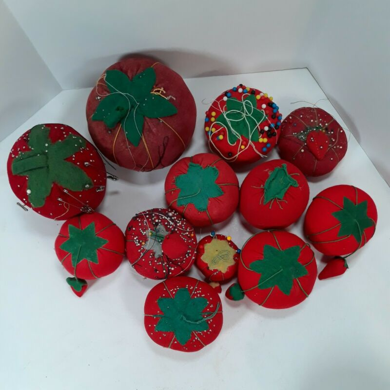 12 Antique / Vintage Tomato Strawberry Pincushion Collection Primitive Sewing