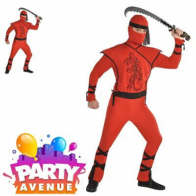 Adults Red Ninja Assassin Mens Martial Arts Warrior Fancy Dress Costume - Red Assassin Kostüm