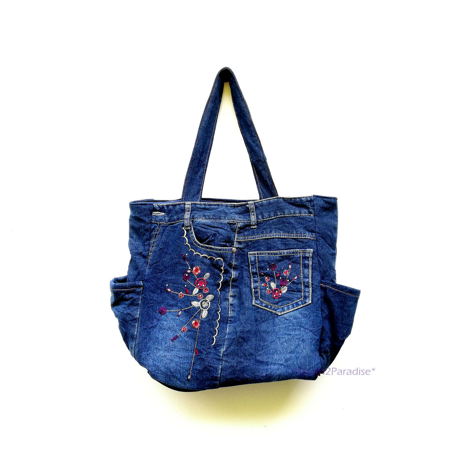 Details about Blue Jean Bag Recycled Denim Jeans Handmade Shoulder Tote  Woman Purse Handbag  6 9895763cd54eb