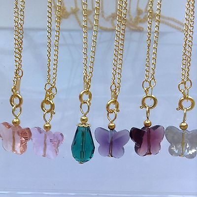 6 Gold Plated Chain Necklace Quartz teardrop & Butterfly Pendant beautiful 17.5