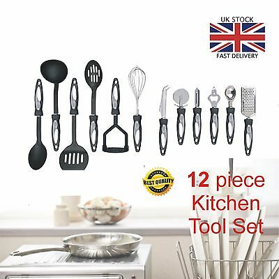 12 Piece Stainless Steel Cooking Utensil Set Nylon Handles Kitchen Gadget Tools