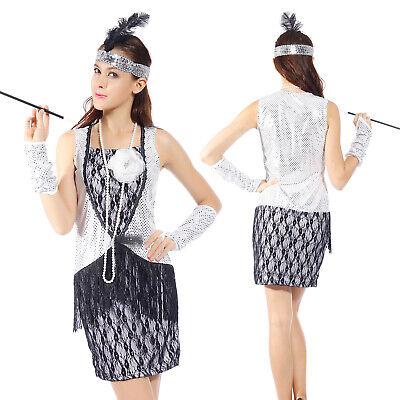 20er Jahre Sequin Damen Charleston Kostüm Fransen Kleider - Flapper 20er Kleider