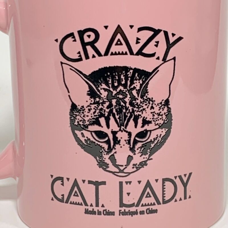 Crazy Cat Lady Coffee Cup Mug Pink Cat Lover