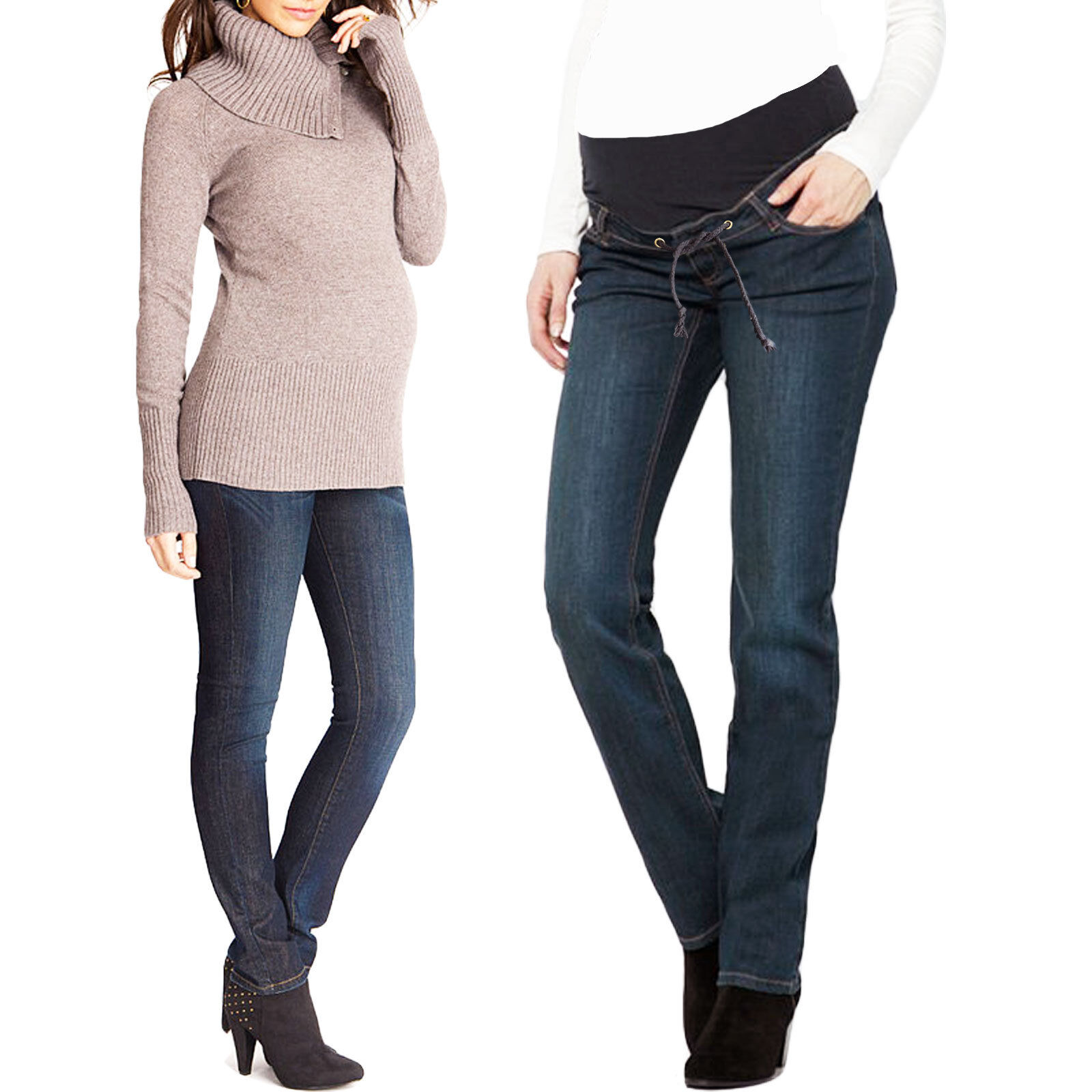 Jeans donna pantaloni premaman gravidanza skinny elasticizzati lacci slim V293