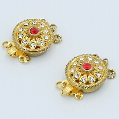 Crystal Gold Plated Box Closure Clasps Triple Strand Jewelry Crafting Set Of -