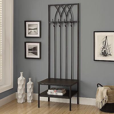 Black Slim Metal Hall Tree Coat Rack Stand Home Living Entryway Furniture Bench
