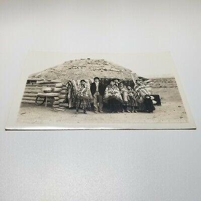 Navajo Hogan and Indians Vintage Postcard Native American 1920s RPPC Mullarky