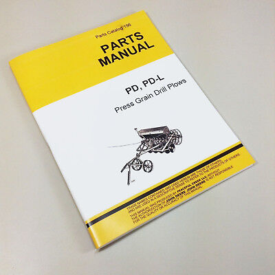 Parts Manual For John Deere Pd Pd-l Press Grain Drill Plows Catalog Van Brunt