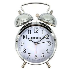 CROSLEY TIMELINK NEW Alarm Clock Vintage Type Metal Non-Ticking Silver Twin Bell
