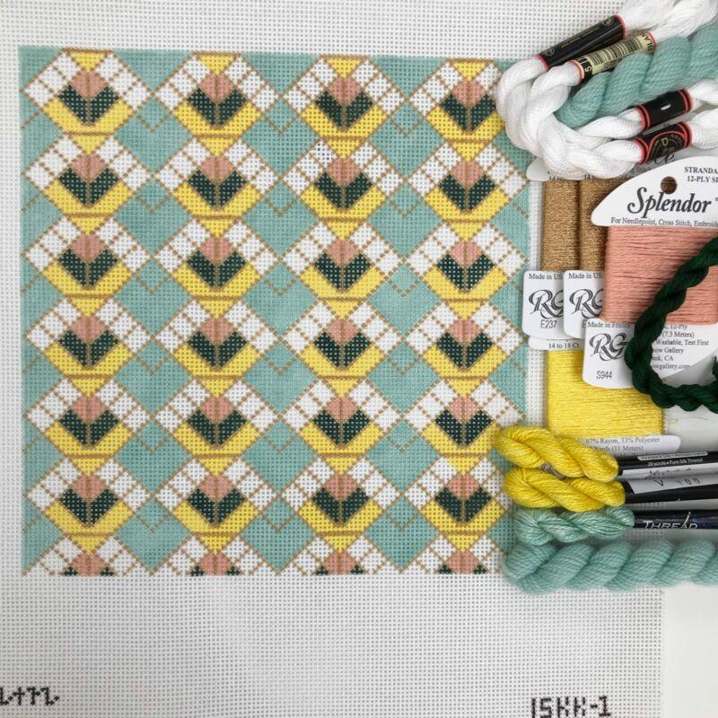 Plum Stitchery hand painted needlepoint canvas Stained Glass pattern geometric