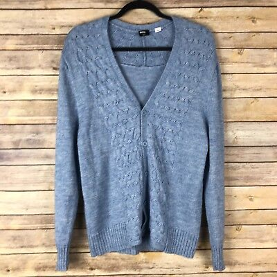 (BDG Womens Sweater Acrylic Wool Blend Boyfriend Cardigan V Neck Cable Knit M)