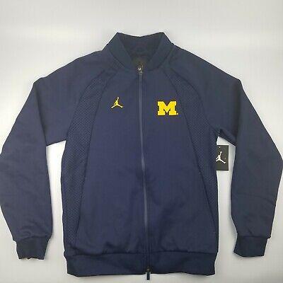 Michigan Wolverines Jordan AJ1 Wings Full Zip Football Warm Up Jacket Blue $180