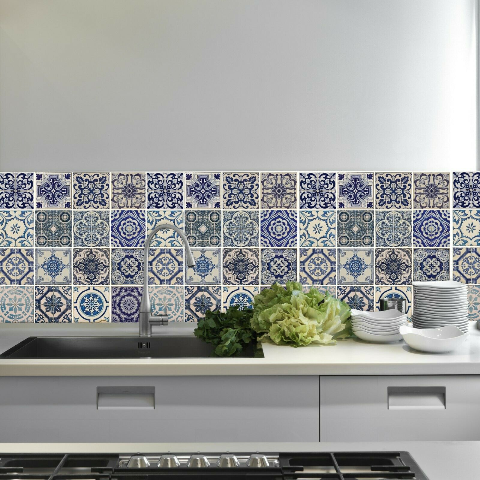 Green tiles  Self-Adhesive Decal New Cabinet Makeover Wall FurniturePattern DIY