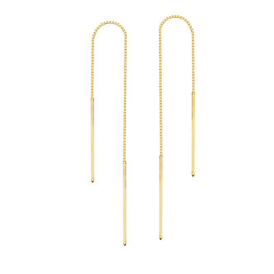 Threader Earrings 14K Yellow Gold Polished Double Bar with Box Chain 14k Gold Threader Earrings