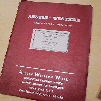 Austin Western 3 Wheel Roller 102 122 Owner Operator Maintenance Parts Manual