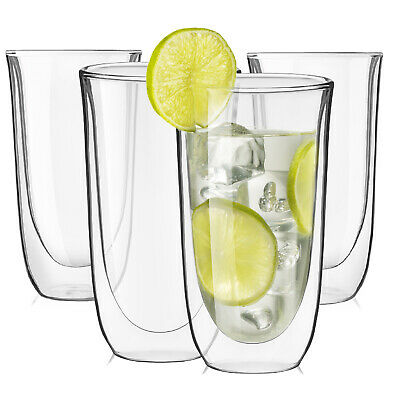 JoyJolt Spike Double Wall Glasses, 13.5 Ounce Cocktail Drinkware Glass set of 4