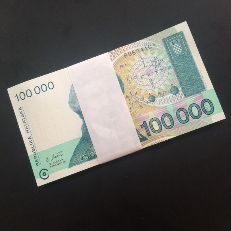 Bundle 100 PCS, Croatia 100000 100,000 Dinars, 1993, P-27, UNC, Lot Pack