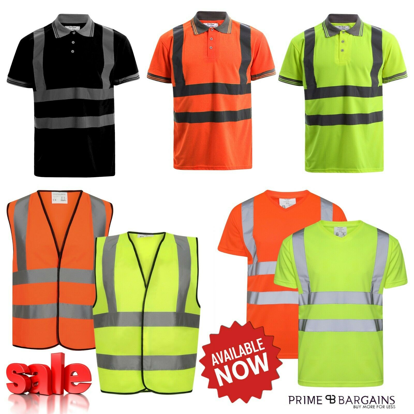 5 Pack Polo Shirts Hi Vis High Viz Visibility Short Sleeve Safety Work-wear Shirt
