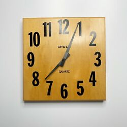 "Vintage Gruen Wall Clock Maple Wood Modern Contemporary 11 1/2"" Square"